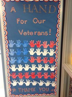 Veterans Day Bulletin Board - A Hand For Our Veterans! Thank You Veterans Day Bulletin Board - A Hand For Our Veterans! Thank You Veterans Day Bulletin Board - A Hand For Our Veterans! November Bulletin Boards, Summer Bulletin Boards, Classroom Bulletin Boards, Classroom Crafts, Classroom Door, Classroom Ideas, Toddler Classroom, Classroom Organization, Veterans Day Thank You