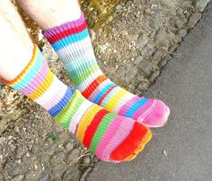 Mis-matched striped socks make me very happy