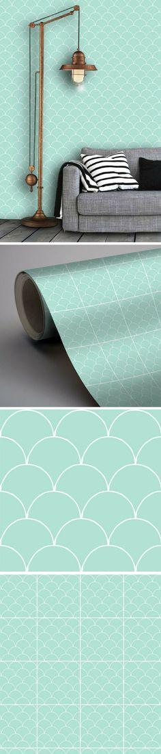 Papier peint en vinyle amovible menthe