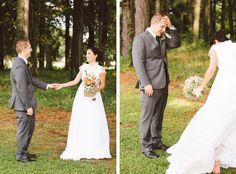 Vintage Wedding Inspiration - First Look Reaction - Maryland Wedding Photographer