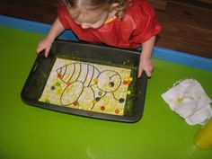 YELLOW Activities- Making a Yellow Buzzing Bee with marble painting (yellow paint)