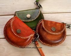 Leather ear buds pouch case bag, leather coin purse, veg tan leather purse. hand stitched, hand dyed handmade by napkitten vintage style bag