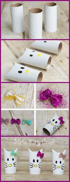 diy hello kitty rolos de papel