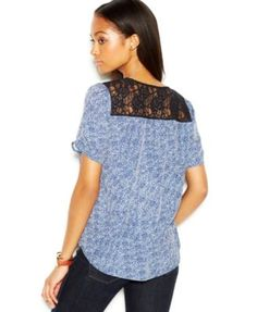 Maison Jules Short-Sleeve Lace-Yoke Printed Top