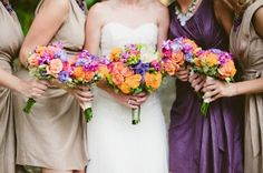 love the pops of tropical color against the nudes and purple.