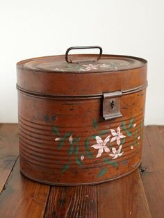 vintage tin hat box