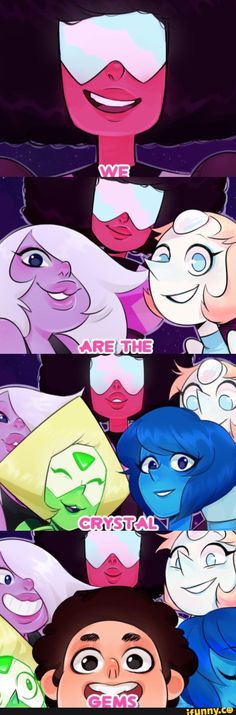 We are the crystal gems- Steven Universe Cartoon Network, Universe Images, Universe Art, Steven Universe Funny, Steven Universe Theme Song, Steven Universe Garnet, Steven Universe Anime, Fanart, Steven Univese