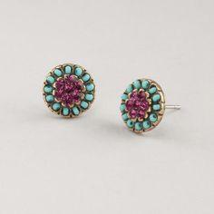 WorldMarket Turquoise and Purple Stud Earrings