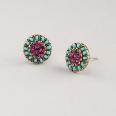 Turquoise and Purple Stud Earrings