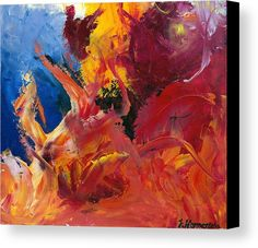 Passion is an oil painting done with a palette knife. Passion is a vivid and bright wall art, here as a canvas print :)