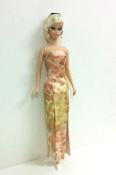 Barbie Dress  Watercolor Print Gown by SKSungDesigns on Etsy