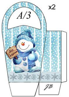 30 Christmas gift packs ready for printing. Christmas Bags, Christmas Colors, Christmas Snowman, Christmas Crafts, Paper Box Template, Box Templates, Printable Box, Box Patterns, Diy Gift Box