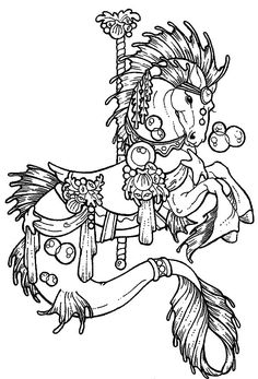 iColor Carousel Animals Carousel Lion Coloring Pages