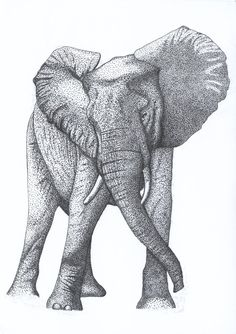 Pointillism Elephant by kaotickell