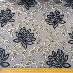 Grey & Black Bloomers Fabric By The Yard Curtain Fabric Upholstery Fabric Curtain Panels Drapery Fabric Window Treatment Fabric by FabricMart on Etsy https://www.etsy.com/listing/257675095/grey-black-bloomers-fabric-by-the-yard