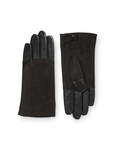 Helion gloves-Women's black glove in leather nappa. Features nappa on palm side and fingers, contrast suede on top of hand. Fully lined. Women's Gloves, Tiger Of Sweden, Black Gloves, Fingers, Palm, Contrast, Closure, Button, Leather