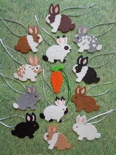 "Bunny Rabbit Perler Bead Decoration Ornaments / Gift Tag Set  ""1 Dozen Bunnies + 1 Carrot"""
