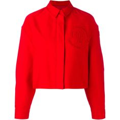 Moncler Gamme Rouge - cropped boxy jacket - women - Silk/Cotton - 1 ($1,439) ❤ liked on Polyvore featuring outerwear, jackets, red, cropped cotton jacket, cotton jacket, box jackets, boxy jacket and silk jacket