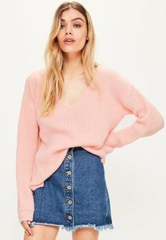 Missguided Pink V Neck Slouchy Sweater Found on my new favorite app Dote Shopping #DoteApp #Shopping