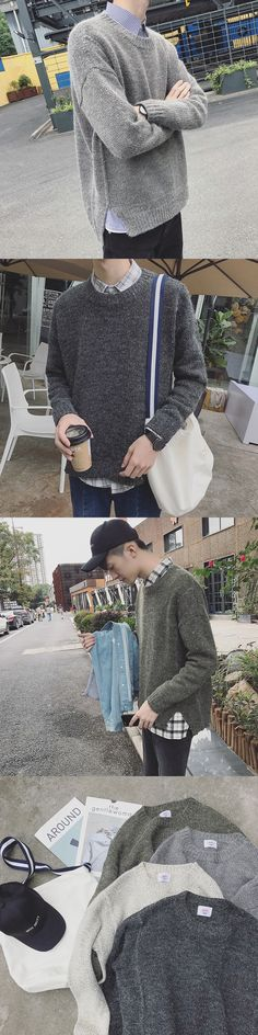 South Korea ulzzang autumn and winter new round neck suit pure color men loose university wind bf sweater Free shipping
