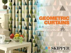Bring #home the bliss of geometric #curtains from Skipper Home Fashions. Order today at www.skipperhomefashions.com