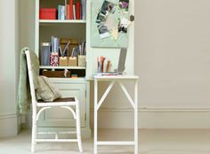 How to turn any bookcase into a fold-down desk. Easiest if you use the Billy bookcase and it's doors from IKEA but will work with any bookcase. Talk about maximizing space!