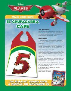 Make your own El Chupacabra cape from Planes Birthday, Planes Party, Disney Theme, Disney Fun, Disney Planes, Red Felt, Disney Crafts, Party Themes, Party Ideas