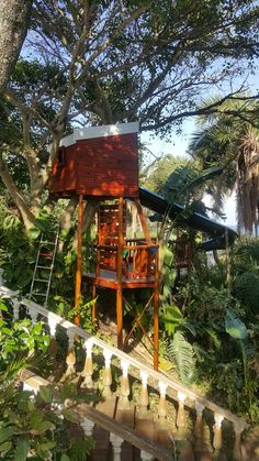 Back view tree house with slide Wendy House, Jungle Gym, Fair Grounds, Boat, Cabin, House Styles, Fun, Travel, Home Decor
