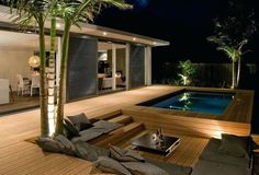 This time I want to discuss the idea of a minimalist pool decoration. For many people owning a house with a pool is a comfort in itself, but for people with a minimalist house with not too large la… Terrace Design, Patio Design, Balkon Design, Outdoor Living Rooms, Backyard Lighting, Wooden Decks, Porch Decorating, Outdoor Gardens, Minimalism