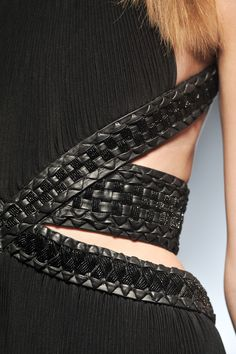 Woven Texture Detail - mixed weave strap trim, black on black texture & pattern; dress accents // Gianfranco Ferre
