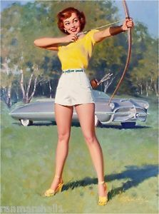 1940s Pin Up Girl Archery Straight Shot Picture Poster Print Art ...