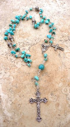 Genuine Arizona Turquoise Chip Antique Bali Silver & Pewter Holy Mother Rosary