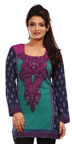 Fashionable Look Green & Blue Color #PrintedTunics