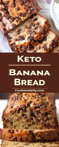 This simply irresistible Chocolate Chip Banana Bread is the best I've ever had. It's light and fluffy, perfectly moist, and full of banana flavor. easy 3 ingredients easy for a crowd easy healthy easy party easy quick easy simple Keto Chocolate Chips, Chocolate Chip Banana Bread, Low Carb Sweets, Low Carb Desserts, Keto Dessert Easy, Dessert Recipes, Ketogenic Recipes, Keto Recipes, Ketogenic Diet