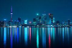 'Toronto Skyline at Night,' Toronto, Ontario, Canada. Toronto Skyline, Downtown Toronto, Toronto City, Ontario, Moving To Toronto, Night Skyline, Places Around The World, Night Life, Beautiful Places