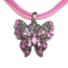 Vintage Swarovski Element Crystal Pendant Necklace Pink Butterfly with Choker WLSTORE N32222a