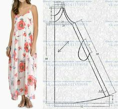 El sarafán, el patrón a la dimensión (los Dress Sewing Patterns, Sewing Patterns Free, Diy Clothing, Sewing Clothes, Pattern Making Books, Fashion Design Sketches, Dress Codes, Pattern Fashion, I Dress