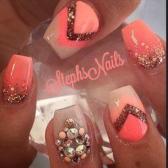 CoralonCoral #coral#coral#brightnails#rosegold#glitter#glitterombre#diamonds#crystals#chevronangles#nude#notpolish#love#cutenails#happyfriday#stephsnails