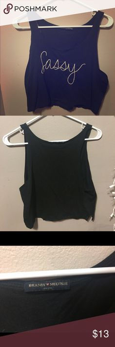 Sassy Brandy Melville Crop top Black crop top with Sassy stitching on front. Only worn once and in very good condition. Brandy Melville Tops Crop Tops
