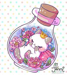 Sweet Dreams Little Princess  . . . #magical #floral #sleepingprincess #sleepingcat #ragdollcat #simesecat #galaxy #starsigns #jennillustrations