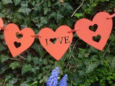 Red love heart wedding bunting garland. by Garlandsandgifts