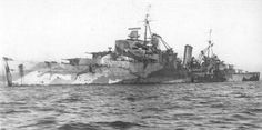 H.M.S Sheffield after the joint encounter and ultimate defeat of The Scharnhorst.