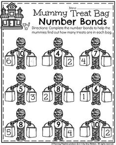 Halloween Kindergarten Worksheets - Mummy Number Bonds. Number Bonds Worksheets, Kindergarten Math Activities, Kindergarten Math Worksheets, Preschool Activities, Kindergarten Class, Narrative Writing Prompts, Rhyming Words, Word Families, Halloween Worksheets