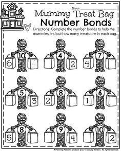 Halloween Kindergarten Worksheets - Mummy Number Bonds. Number Bonds Worksheets, Kindergarten Math Activities, Kindergarten Math Worksheets, Toddler Learning Activities, Kindergarten Class, School Worksheets, Homeschool Math, Class Activities, Maths