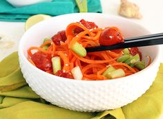 Roasted tomatoes with miso is the centerpiece of this vegan recipe. While the tomatoes roast, their flavors deepen, sweeten, and eventually burst. As they burst, the miso seeps further in the tomat… Veggie Recipes, Dinner Recipes, Cooking Recipes, Healthy Recipes, Healthy Foods, Zoodle Recipes, Healthy Eats, Salad Recipes, Spiral Noodles