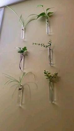 Wall Hanging Plants Indoor, Plant Wall Diy, Diy Wall, Indoor Plants, House Plants Decor, Plant Decor, Bulb Vase, Decoration Plante, Deco Floral