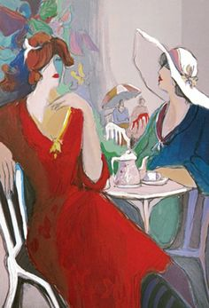 """Limited Edition Print """"Two Women At Cafe"""" by Isaac Maimon"""