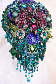 Ruby Blooms is pleased to offer you the Luxury Collection - Cascading Peacock Wedding Brooch Bouquet Designed for Peacock Weddings, Bridal Flowers and Special Events! Peacock Wedding, Bling Wedding, Whimsical Wedding, Wedding Brooch Bouquets, Flower Bouquet Wedding, Bling Bouquet, Boquet, Bridal Flowers, Bridal Accessories