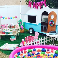 For Samantha's 1st birthday, I decided on a kitschy camper trailer birthday because it's adventurous and fun-loving, which reminds of Sammie's personality.