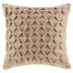 Waffle Knit Square Pillow - Tan (20